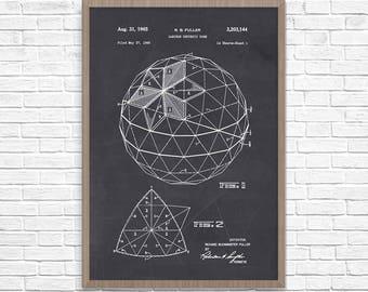 Buckminster Fuller, Buckminster Fuller, Geodesic Dome Patent, Architecture Poster, Architecture Wall Art, Buckminster Fuller Art, Dome