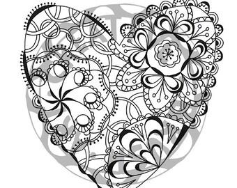For printing Mandala coloring pages Heart 002, JPG / PDF, Instant download printable, mandala download