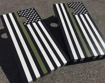 Thin Green Line Cornhole Boards - Military Cornhole, American Flag Boards, Federal Agent, Border Patrol, Park Ranger, Game Warden, Bag Toss