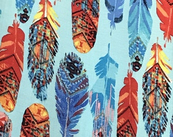 "Feather Print On 100% Organic Rayon Challis Fabric By The Yard 58"" Width"