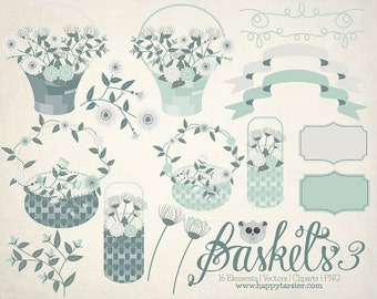 Flowers Clipart Baskets 03 Vector Graphics, Flower Clipart, Floral Clipart, PNG, Clip Art, Teal, Green