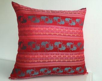 "Red Boho Chic Pillow Cover 18"" x 18"", Decorative Pillow, Throw Pillow, Cushion, Couch Pillow, Modern Pillow"