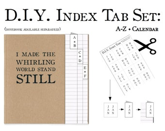 Index Tab Stickers | DIY A-Z Book, DIY Diary | Bullet Journal Notebook Accessories | Make Your Own Planner Stickers, Organiser, Address Book