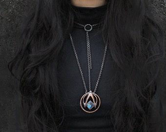 Delta circle amulet.real bone, labradorite copper necklace, reptiles jawbone, dark jewelry, unisex, alchemy, pagan, wicca, witchcraft, unique, occult