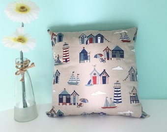 Seaside Cushion, Beach Huts Cushion, Fabric Cushions, Cushion Covers, Homewares, Home Decor, Gifts
