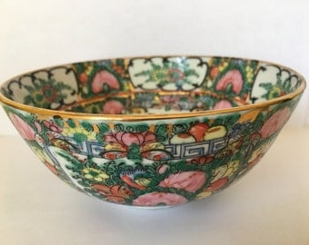Beautiful Vintage 60's Fine Japanese Porcelain Bowl Hand Painted Rose Medallion in Hong Kong Made by H.I.