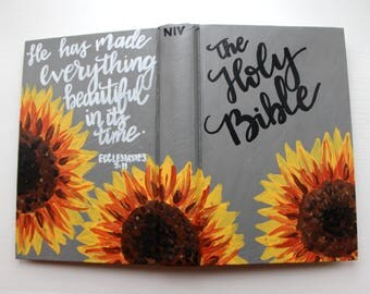 Sunflower Hand Painted Bible