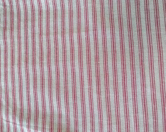 Farmhouse Country Red and Tan ticking  Fabric By the Yard, Half Yard, or 1/4 yard