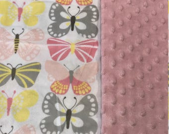 Butterfly Baby blanket butterfly blanket Baby girl blanket Baby shower gift double Minky blanket Girl baby Shower gift Pink Minky Blanket