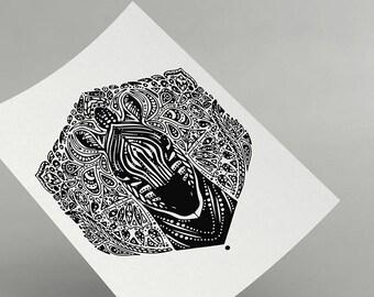 Zebra Mandala - Printable - Intricate Animal Illustration - Nature Inspired Artwork