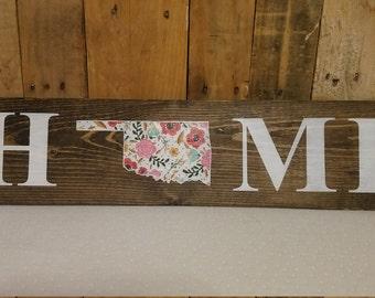 floral oklahoma home sign, wood sign, oklahoma