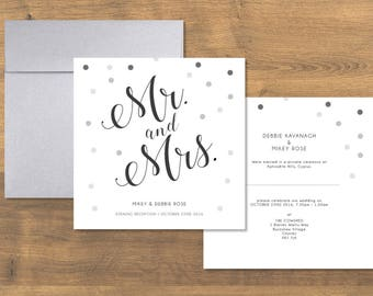 Mr and Mrs Wedding Invitation, Black & White, Modern, Typographic Wedding Invite, Wedding Stationery