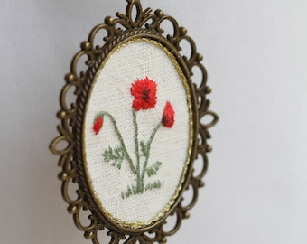 Amapola Embroidery Necklace Pendant hand made embroidery poppy red