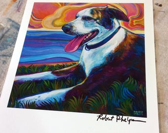 Psychedelic Sunset and Seawall Dog Art Print by Artist Robert Phelps
