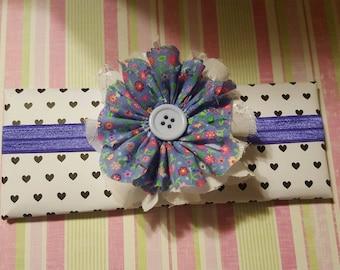 shabby chic flower button headband or clip
