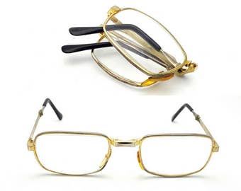 Foldable Eyeglasses Vintage men's Gold Tone Metal Folding Frames Eyewear Nerd Hipster Eye Glasses Oversized Glasses