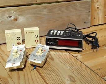 Vintage X-10 POWERHOUSE mini timer MT522 w/ Lamp & Appliance module and Two Wall Switch Module Retro Electronics Electrician Electrics Home