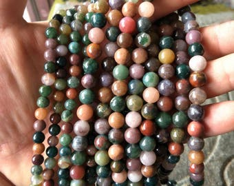 Natural Moss Agate Bracelet Beads Natural Stone Beads Mixed Color Agate Beads Round Beads Full Strands 15.5 inch Loose Agate Beads XY022