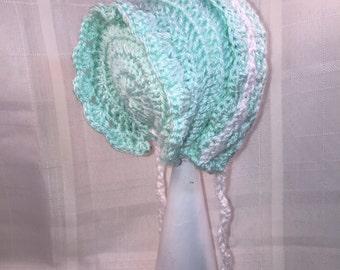 8-12 months seafoam green and white babygirls dress and matching  bonnet