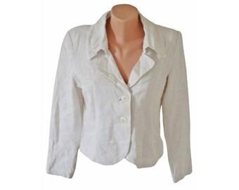 Vintage Didi ® Adds Flavour women white blazer 100% linen