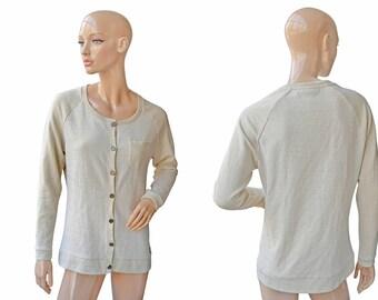 Vintage Didi ® pretty different women cardigan beige with golden lurex