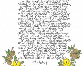 Handmade John Henry Newman Prayer Card