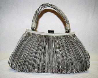 SALE! 30% OFF  |  Silver Satin Evening Bag  |  c. 1980's