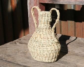 Natural fiber of esparto grass pitcher jug two handles trend decor rustic objects unique decorative materials natural fiber