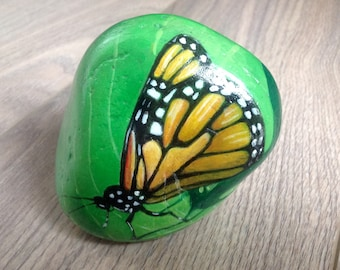 Hand painted butterfly pebble paperweight