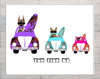 The Line Up, Surf Art, VW Beetle, Dogs Surfing, Whimsical Art, Printable, Instant Download, Digital Download, Multi Sizes, Digital Art,