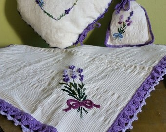 Romantic rustic style textile Lavender set Heart shape pillow + table napkin + bag  Handmade lace & embroidery