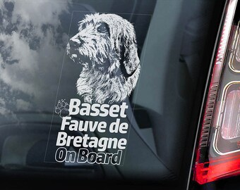 Basset Fauve de Bretagne on Board - Car Window Sticker - Fawn Brittany Dog Sign Decal - V01