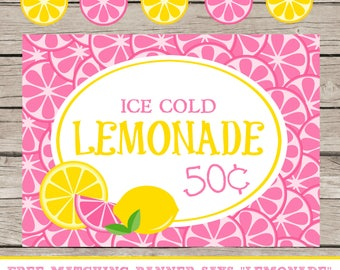 Lemonade Stand Printables Kids Summer Business Ideas Selling Lemonade Ice Cold Lemonade Pink Yellow Banner Sign Lemons For Sale Ice Cold