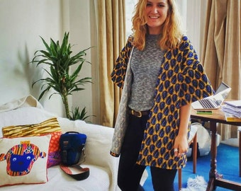 Yellow and blue cotton patterned kimono, oversized jacket, always gets compliments :) cotton seen on great British sewing bee 15%to charity