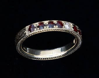 Stackable Gold Antique Bohemian Garnet and Diamond Ring - Hand Engraved - 10K Gold - Traditional Pave