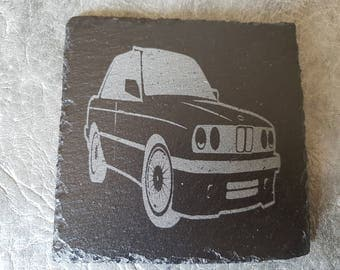 Slate coaster with BMW E30 design