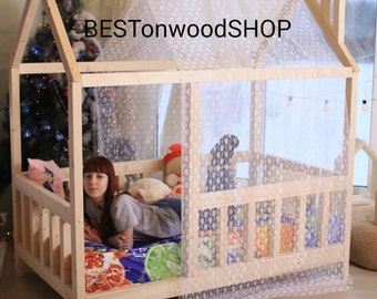DOUBLE SIZE,Toddler bed, house bed, wooden house, wood house, wood nursery, teepee bed, wood house bed, wood bed frame, kids bedroom