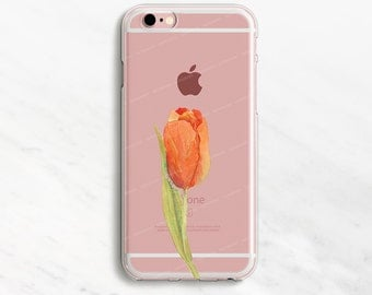 Orange Tulip iPhone 7 Case Clear iPhone 6 Case Clear iPhone 6 Plus Case Clear iPhone 7 Plus Case Clear iPhone Case Clear