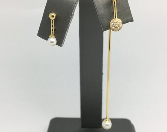 925 Gold Plated or White Gold Rohodium Plated Long Drop Earrings