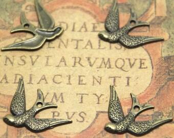 25pcs Swallow bird charms bronze tone Cute Lovely Bird charm Pendants,Sparrow Charms 17x25mm ASD1703