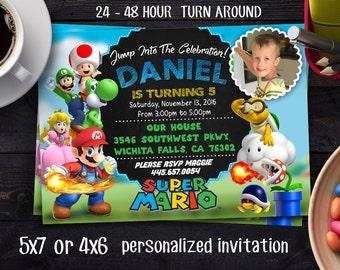 Super Mario Brother Invitation, SUPER MARIO INVITATION,Super Mario Brothers Birthday Invitation,Super Mario Bros Birthday Invitation