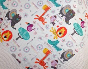 "Jungle Animal Quilt, Baby Quilt, Rumble Animal, Toddler Quilt, Handmade Quilt, Child Quilt, Nursery Quilt, Crib, Quilt size: 40"" x 50"""