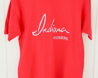 80's Vintage INDIANA UNIVERSITY Crimson T-Shirt Hoosiers Crimson & Cream Bloomington Indiana Big 10 Size Medium
