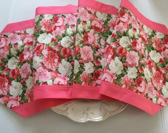 """Floral Table Runner 12"""" x 36"""", 12"""" x 70"""" or 13"""" x 72"""" lengths / Pink and White Roses with Border / Mother's Day"""
