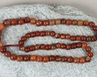 68 African Carnelian Beads 8-10mm, African Beads, Powder Glass Beads, Krobo Beads, Recycled Glass Beads