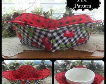 PDF Pattern:  1 Hour Hot Bowl Cozy Holder ~ Petal Style