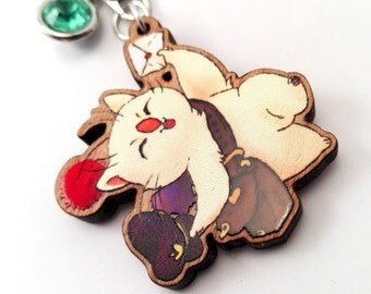 Final Fantasy Moogle mail delivery charm with coloured jewel detail on 1.5 inch wood