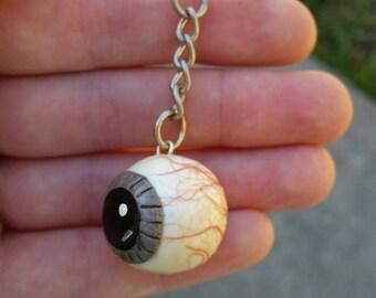 polymer clay eyeball keychain