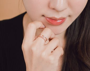 Double ring,  open bar ring free size ring, open ring, double band ring, baguette cutting, rose gold ring, double band open ring