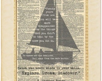 "H Jackson Brown Jr famous quotes. ""Twenty Years from now, sail away from the safe harbour"". Explore Dream Discover quotes. Vintage Print."